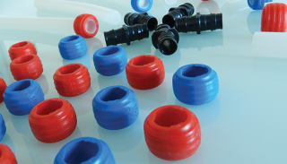 Close up of plastic pipe and fittings